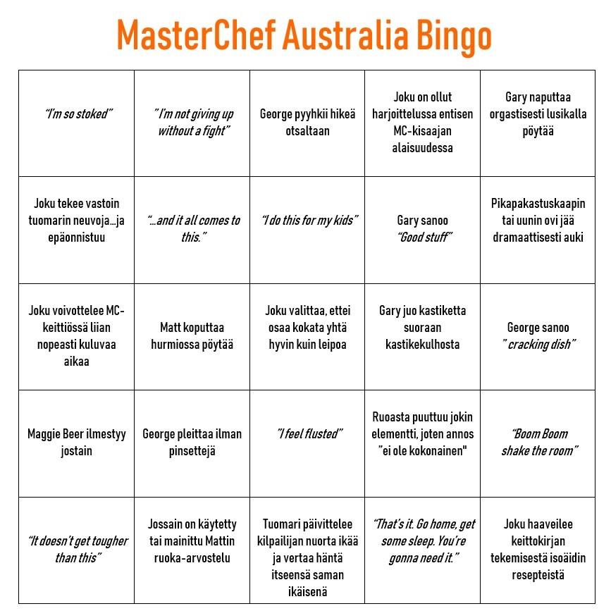 MasterChef Australia Bingo